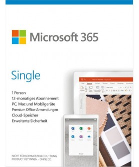 Microsoft 365 Single 1 Jahr fuer 1 Person